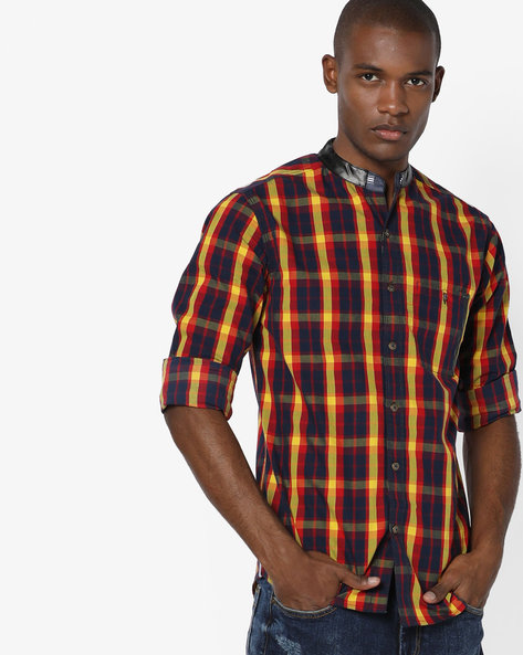 Checked Shirt With Contrast Collar By SPYKAR ( Multi )