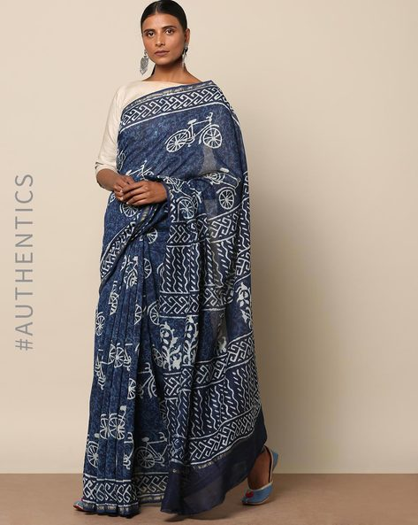Handblock Indigo Print Chanderi Saree With Zari By Indie Picks ( Indigo ) - 460146816001