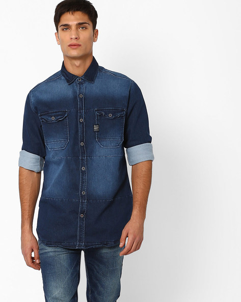 Lightly Washed Slim Fit Denim Shirt By DNMX ( Blue )