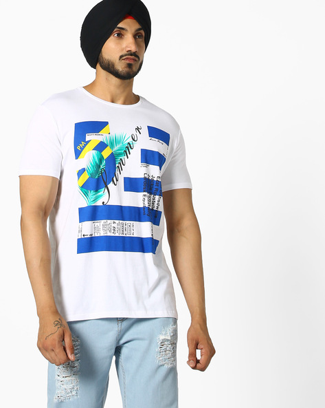Graphic Print Cotton T-shirt By UNITED COLORS OF BENETTON ( White )