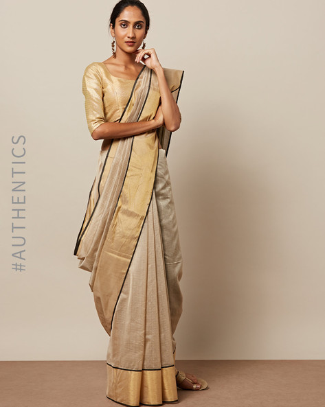 Handloom Tana Maheshwari Pure Silk Cotton Saree By Indie Picks ( Brown )