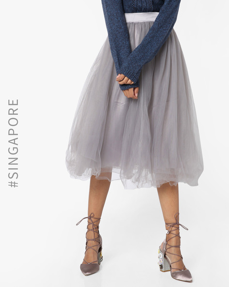 Sheer Midi Skirt By MDS ( Grey )