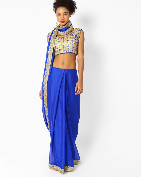 Chiffon Saree With Embroidered Border By Majestic Silk ( Blue )
