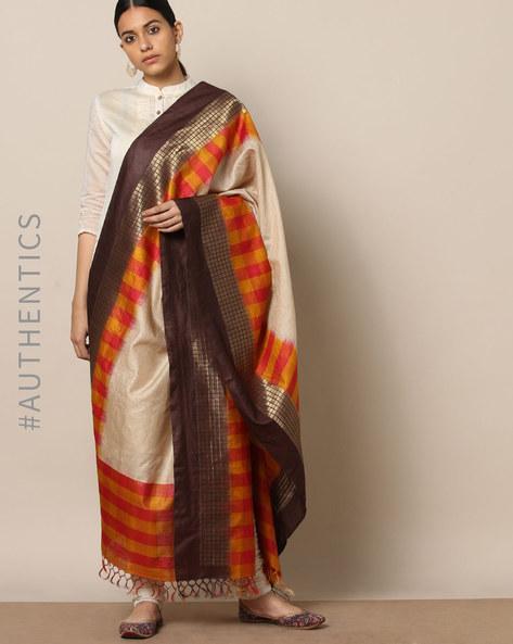 Handloom Pure Silk Tussar Muga Dupatta By Indie Picks ( Multi ) - 460176774001