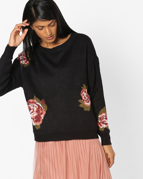 Full Sleeves Top With Floral Print By Vero Moda ( Blackcharcoal )