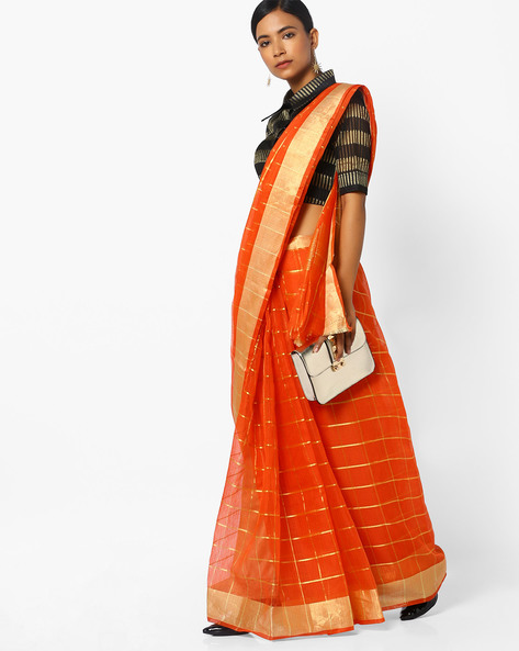 Checked Saree With Contrast Border By CHHABRA 555 ( Red )