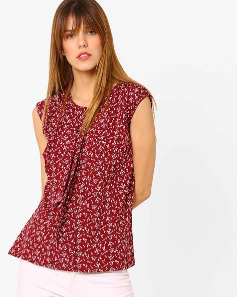 Printed Top With Ruffled Detail By Annabelle By Pantaloons ( Red )