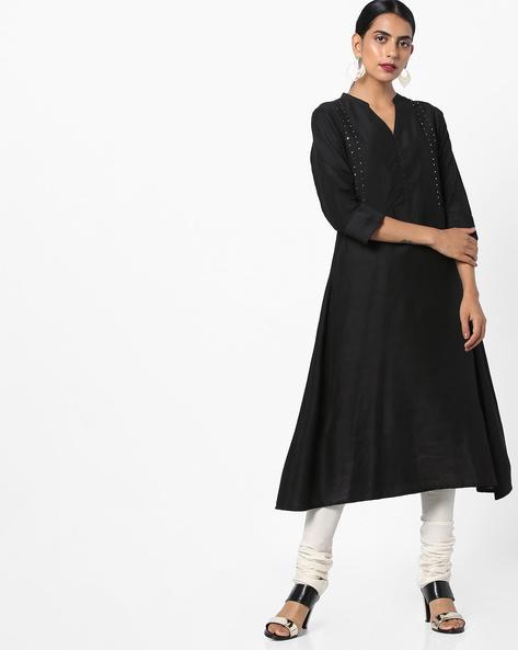 A-line Kurta With Mandarin Collar By Shree ( Black )
