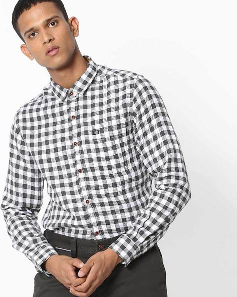 Slim Fit Checked Shirt With Patch Pocket By The Indian Garage Co ( Gray ) - 460191605011