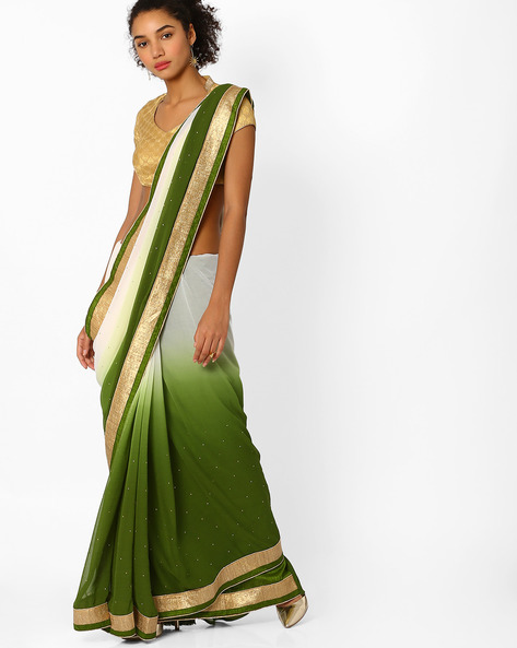 Ombre-Dyed Saree With Contrast Border By Viva N Diva ( Green ) - 460061933001
