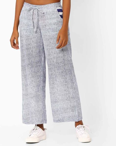 Printed Trousers With Drawstring Fastening By AJIO ( Navyblue )