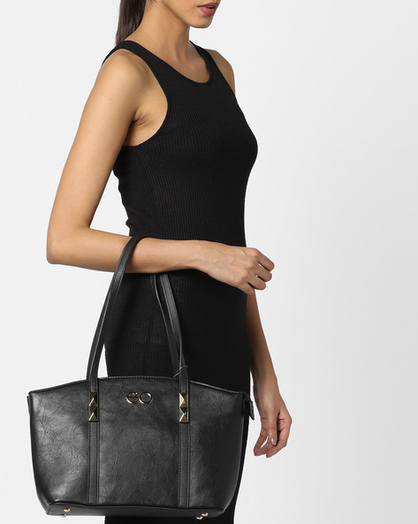 Textured Tote Bag With Metal Studs By E2O ( Black )