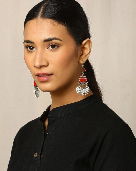 Traditional Afghan Drop-Earrings By Indie Picks ( Red )