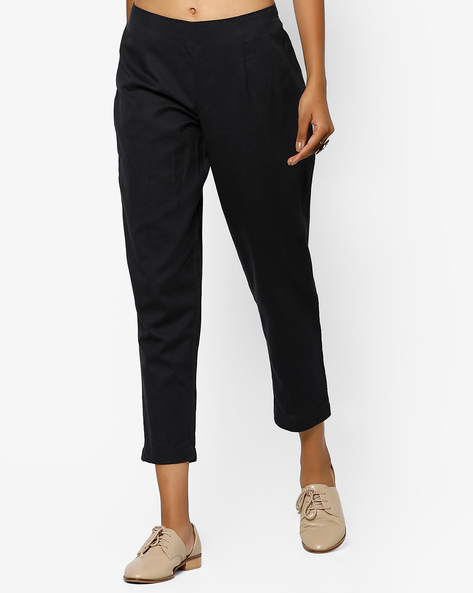 Cropped Pants With Elasticated Waist By Arah ( Black )