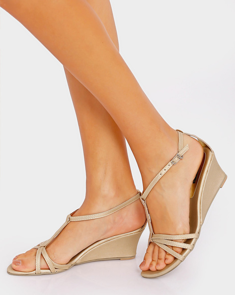 Strappy Wedges With Buckle Closure By Get Glamr ( Gold )