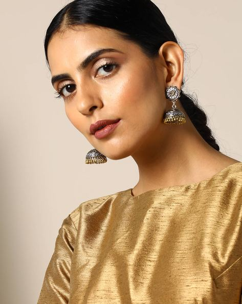 Two-Toned Floral Brass Jhumka Earrings By Studio B40 ( Goldensilver ) - 460095196001