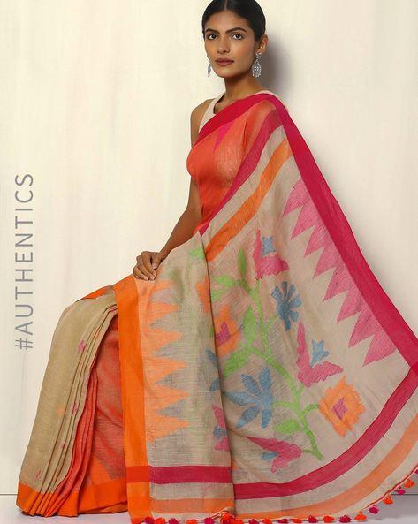 Bengal Handloom Linen Saree With Jamdani Pallu By Indie Picks ( Maroon )