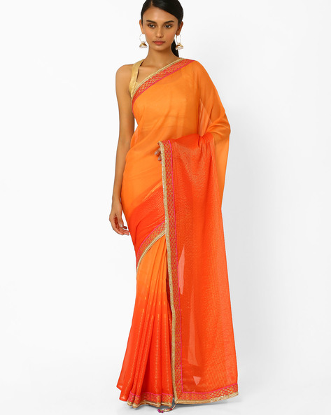 Saree With Contrast Border By Akoya ( Orange )