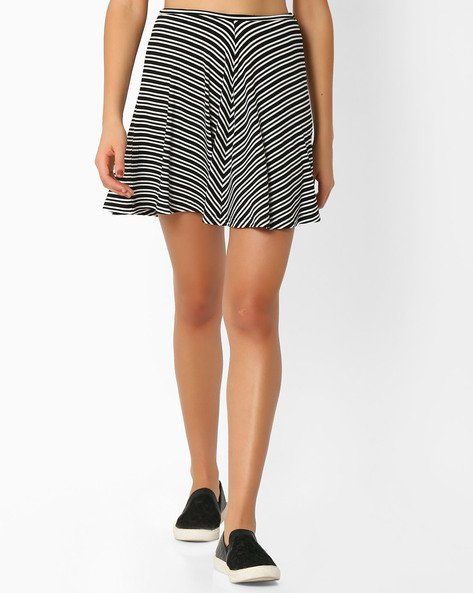 Striped A-line Skirt By Ginger By Lifestyle ( Offwhite )