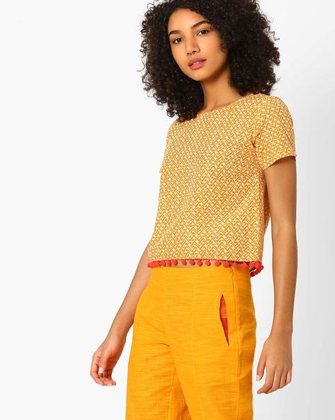 All-Over Print Boxy Crop Top By AJIO ( Mustard )