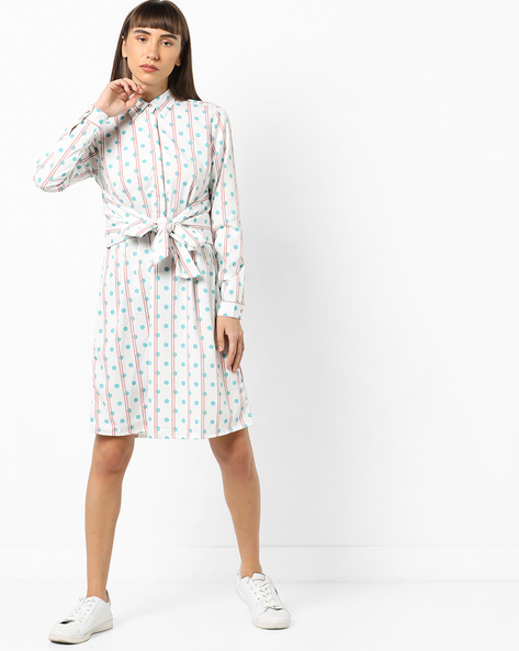 Polka-Dot Print Shirt Dress With Tie-Up By AJIO ( Offwhite )