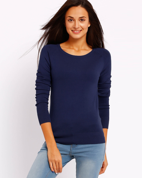 Pullover Top With Raglan Sleeves By FIG ( Blue )