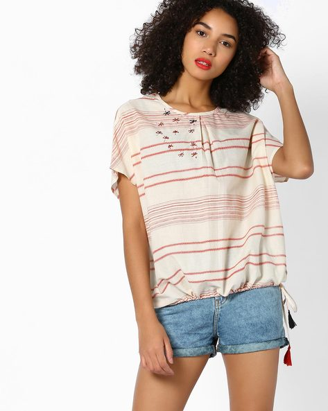 Embroidered Top With Tie-Up By AJIO ( Rust )