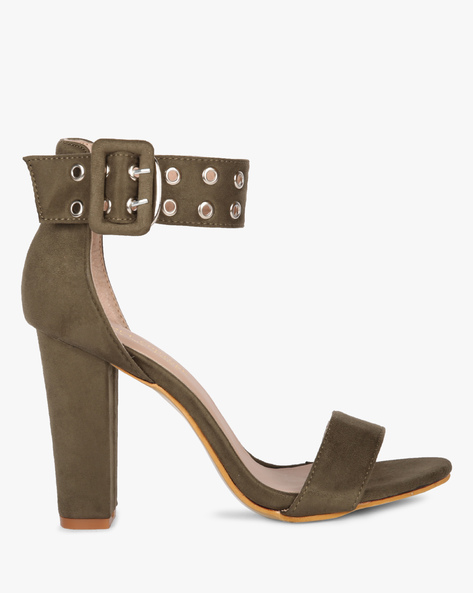 Ankle-Strap Chunky Heeled Sandals By MFT Couture ( Olive )