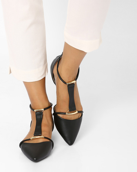 Pointy-Toe Flat Shoes By Tresmode ( Black )