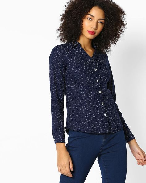 Ditsy Print Shirt With Curved Hem By FIG ( Navy )