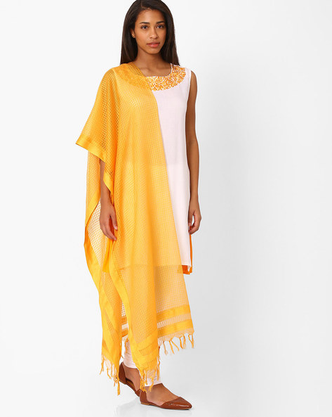 Checked Cotton Dupatta With Tassels By Rangmanch By Pantaloons ( Yellow )