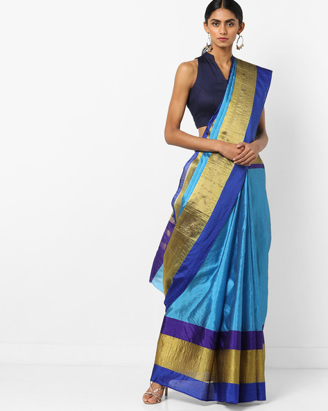 Colourblock Saree With Contrast Border By Florence ( Blue )