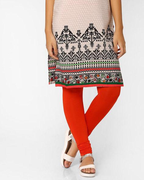 Churidar Leggings With Elasticated Waistband By AJIO ( Orange )