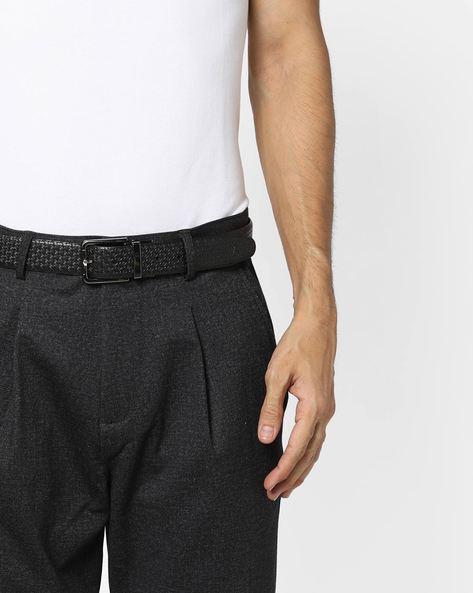 Genuine Leather Textured Belt By ALVARO CASTAGNINO ( Black ) - 460135794001