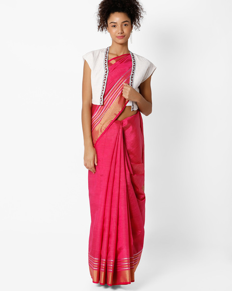 Tussar Silk Saree By Amori ( Pink )