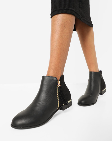 Ankle-Length Boots With Fringes By Truffle Collection ( Black )