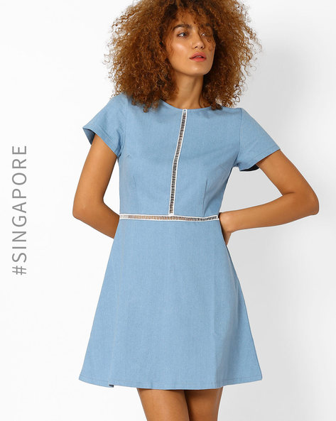 A-line Dress With Ladder Detail By MDS ( Blue )