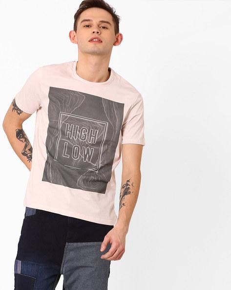 Graphic Print Slim T-shirt By AJIO ( Grey )