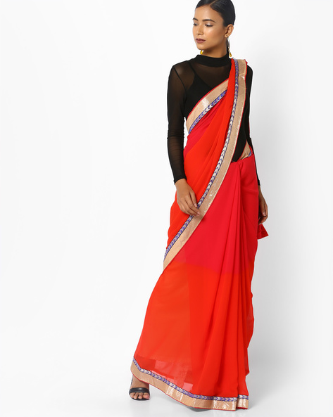 Embroidered Saree With Contrast Border By Florence ( Orange )