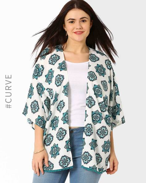 Printed Open-Front Shrug By Oxolloxo ( Green )
