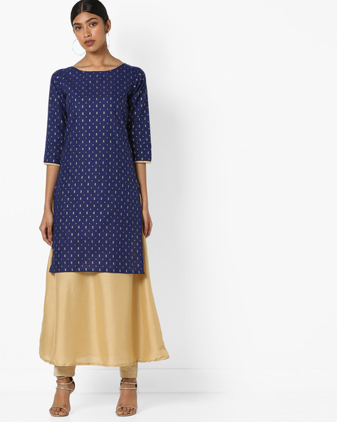 Foil Print Straight Kurta By ZIYAA ( Blue )