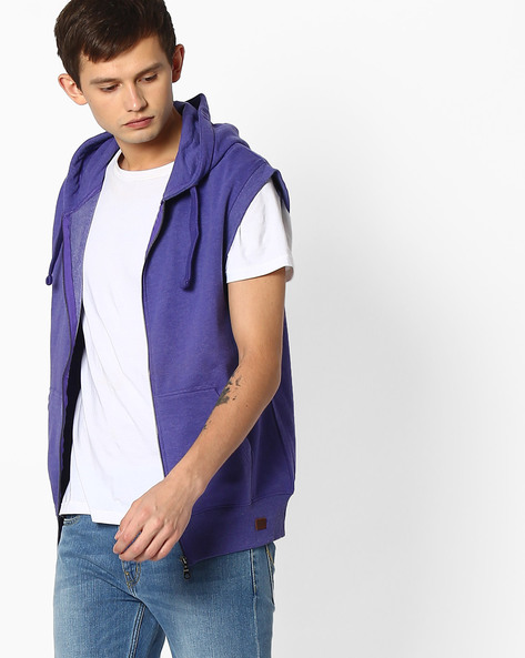 Zip-Front Sleeveless Hoodie By Blue Saint ( Blue )
