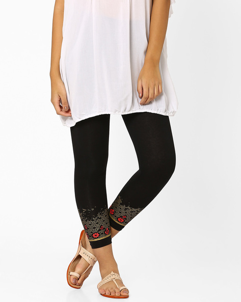 Leggings With Printed Hems By Indian Ink ( Black )