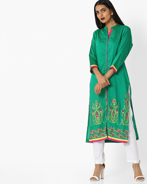 Printed Kurta With Front-Slit Hem By Indian Ink ( Seagreen )