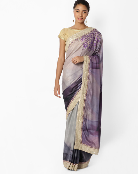 Printed Saree With Sequinned Border By Mahotsav ( Purple )