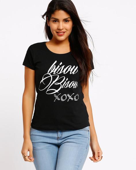 Printed T-shirt By AJIO ( Black )