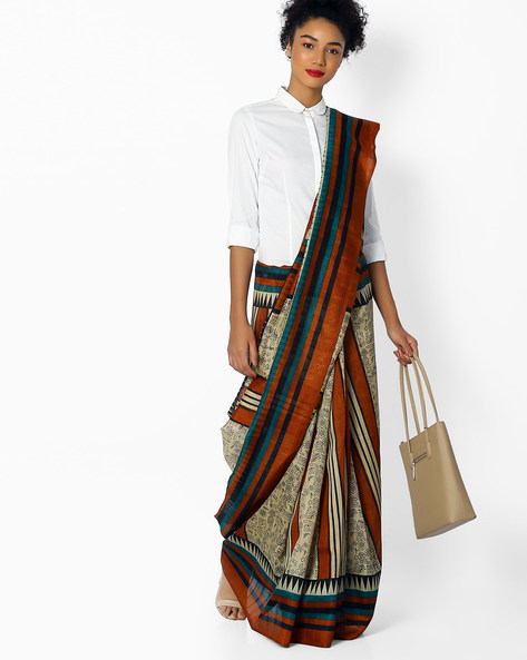 Printed Saree With Striped Border By Florence ( Beige )