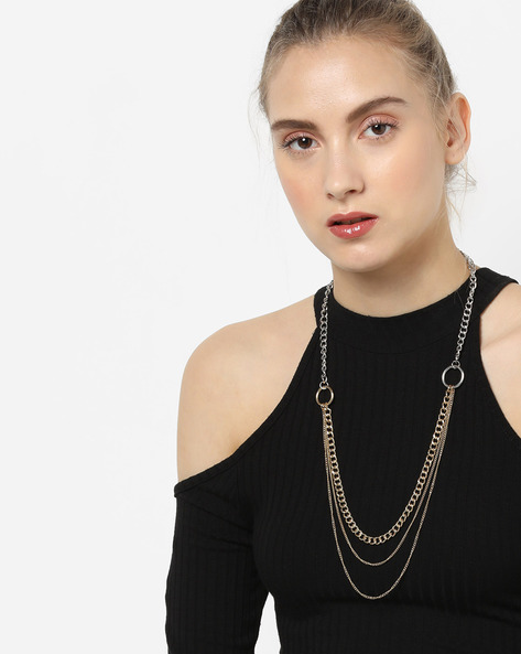 Tiered Strand Long Necklace By TALLY WEiJL ( Gold )