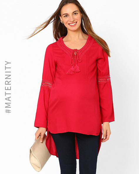 High-Low Maternity Top By AJIO ( Fuchsia )