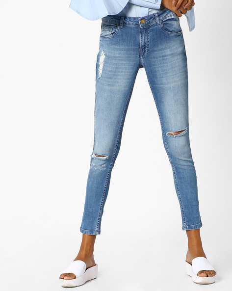 Heavily Distressed Skinny Jeans By Ginger By Lifestyle ( Blue )